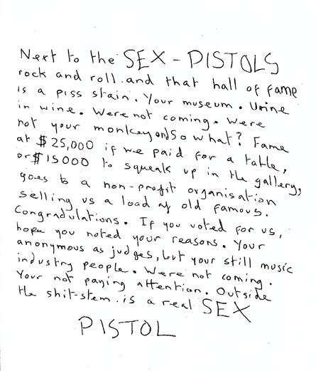 В послании Sex Pistols говорилось, что они не чем обязаны  анонимным судьям из звукозаписывающей индустрии.